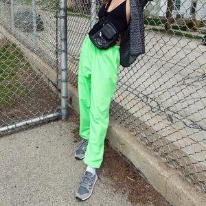 Vintage Neon Green Woven Jogger